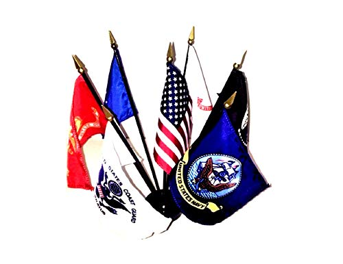 Miniature State Flags - Made in The USA!! Rayon United States Military World Flag Set with Black Base-7 Rayon 4