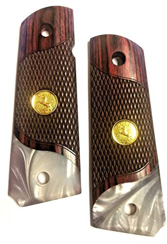Premium Gun Grips 1911 Grips Full Size Double Diamond Checkered Rosewood Faux Pearl Accent US Gold Tone Medallion