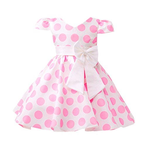 (DreamHigh Little Girls Toddle Polka Dot Skirt Cap Sleeves Flowers Girl Vintage Bow Dress Pink 6)
