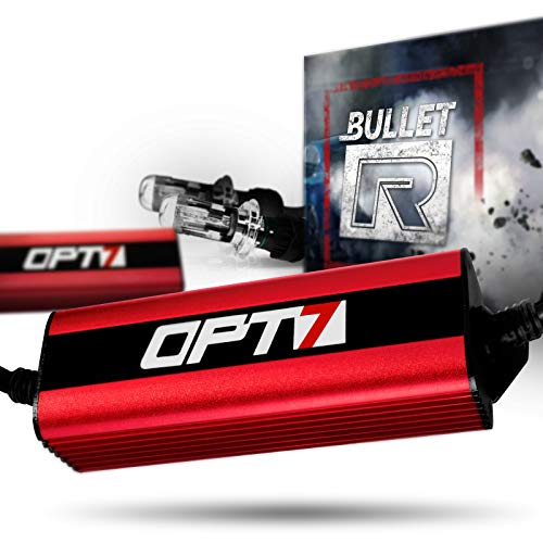 OPT7 Bullet-R H4 9003 Bi-Xenon HID Kit - 3X Brighter - 4X Longer Life - All Bulb Sizes and Colors - 2 Yr Warranty [5000K Bright White Light] -