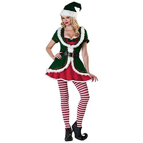 Women's Santa Helper Costume Adult Christmas Elf Outfits -