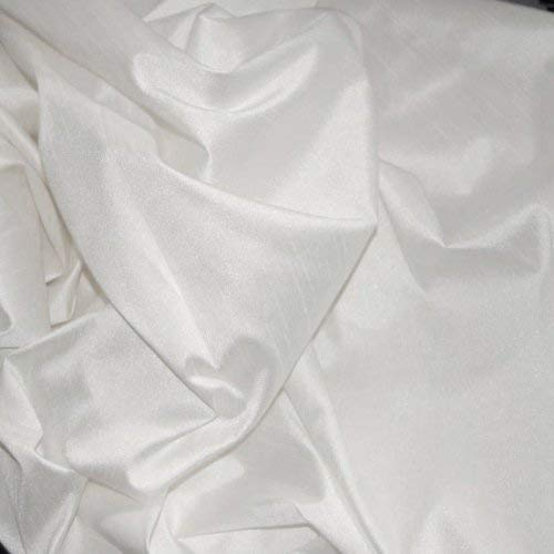 FAUX SILK DUPIONI FABRIC POLY DUPION WHITE (BY THE YARD)