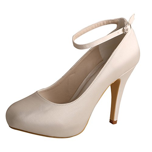 Wedopus Women's Ankle Strap Round Toe Stiletto Heel Platform Satin Wedding Bridal Shoes