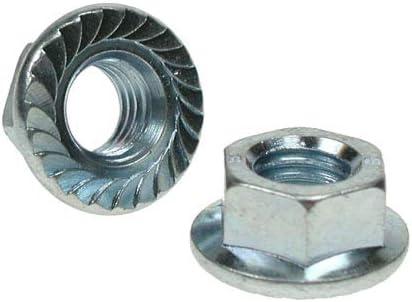 Pack of 100 x M10 Serrated Steel Flange Nuts DIN 6923 Gr.8 BZP High Tensile
