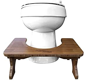 """Step and Go Bamboo Squatting Toilet Stool for Potty Aid (7"""" and 9"""")"""