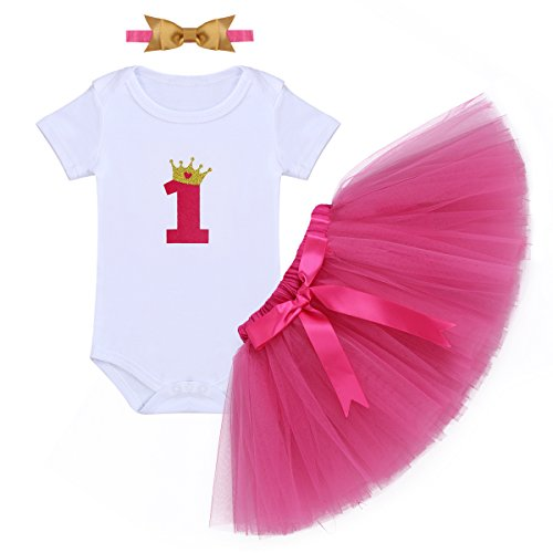 Baby Girls First Birthday Clothes One-Piece Bodysuit 1st Crown Romper+Ruffle Tulle Skirt+Bowknot Headband 3PCS Set Toddler Infant Smash Cake Outfits for Casual Photo Shoot Hot Pink + Golden