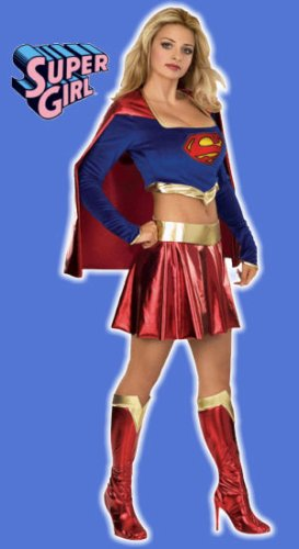 Secret Wishes DC Comics Women's Deluxe Supergirl Costume, Blue/Red, Medium