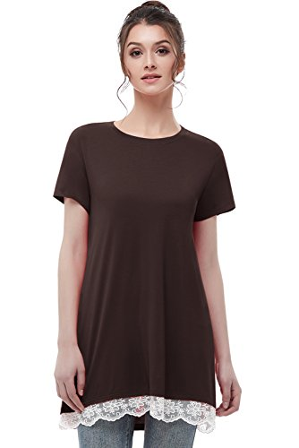 Musever Women's Short Sleeves Tunic Tops Casual Lace T-Shirt Blouse Coffee XL
