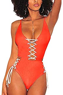 27f275ca3e3 QINSEN Women s Sexy V Neck Lace Up Cutout High Waisted One Piece Monokini  Swimsuit