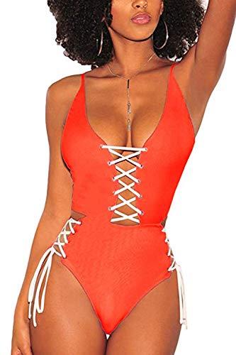 (QINSEN Stylish One Piece Swimwear Women's Sexy Plunge V Neck Lace Up Monokini High Waisted Bathing Suit Orange M)
