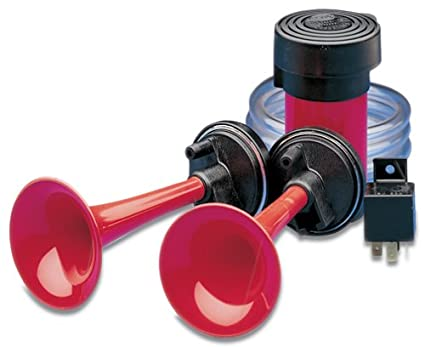 Bracket and Two Red Horn Trumpets HELLA 003001831 24V Twin-Tone 840 Hz Low-Tone// 795 Hz High-Tone 118 dB Air Horn Kit with Compressor