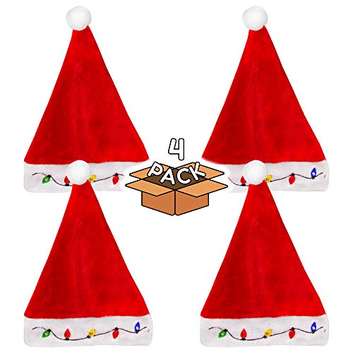 LED Light-up Christmas Bulb Plush Santa Hat for Adults and Kids - 4 Pack]()