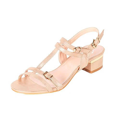 Alexis Leroy - Alexis Leroy Womens Shoes Classical Solid T-strap Adjustable-buckle Dress Sandals para mujer Oro