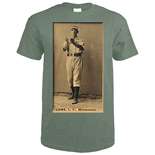 Milwaukee Lad League - Bobby Lowe - Baseball Card (Heather Military Green T-Shirt Large)