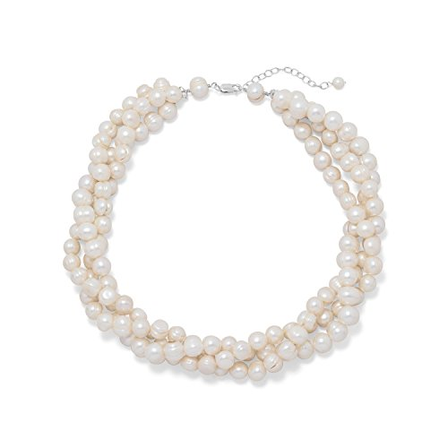 Three Strand Torsade Cultured Freshwater Pearl Necklace Sterling Silver Adjustable Length