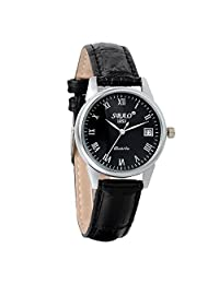Avaner Women Casual Date Display Roman Numeral Analog Quartz Dress Watch with Black Leather Strap