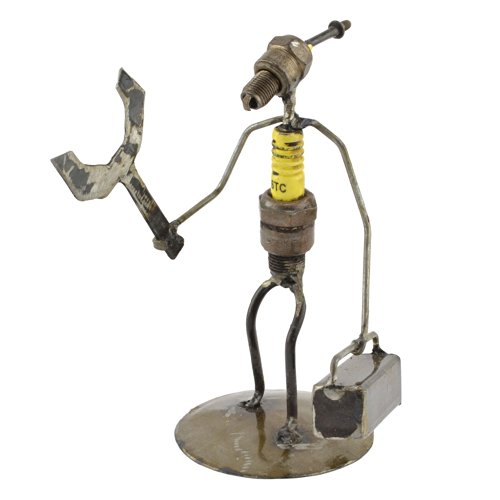 (Handyman Recycled Spark Plug Metal Sculpture)
