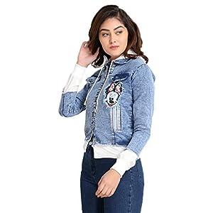 DIMPY GARMENTS BuyNewTrend Blue Full Sleeve Printed Denim Jacket with Hoodie for Women