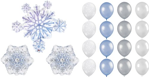 Snowflake Balloons for Disney Frozen Party - Party Decorating Kit - 19 Balloons Total by LFB