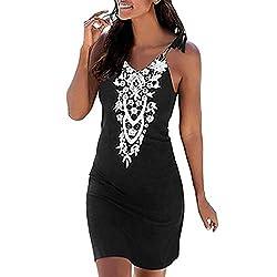 Nebwe Skirt Women V Neck Boho Lace Sleeveless Casual Mini Beachwear Sundress Women Fashion Summer Black X Large
