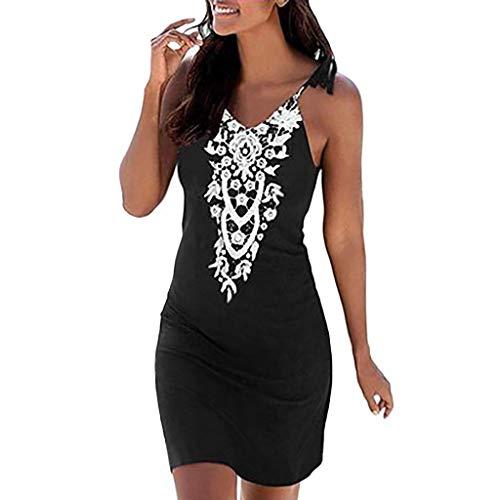 Beachwear Pattern - Women V Neck Short Mini Dress Boho Lace Sleeveless Casual Beachwear Tank Sundress Sale (Black, XL)