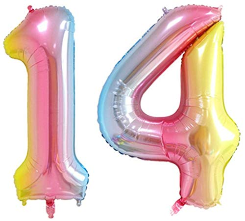 ZIYAN 40 Inch Giant 14th Rainbow Number Balloons,Birthday/Party balloons]()
