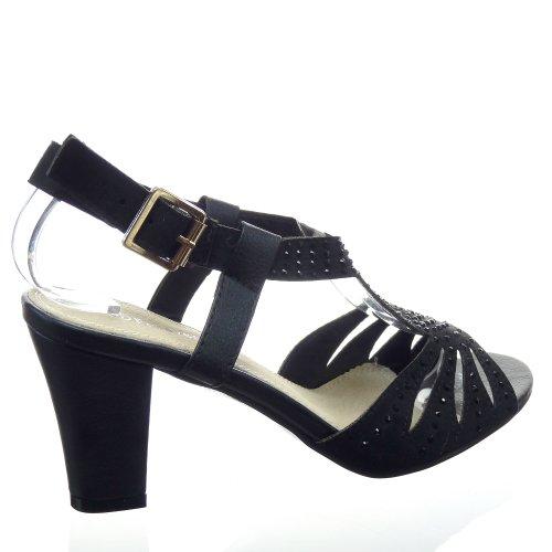 Kickly - damen Mode Schuhe Pumpe Sandalen Strass Schuhabsatz Blockabsatz - Schwarz T 36 - UK 3