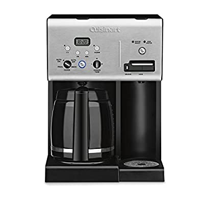 Cuisinart CHW-12 Coffee Plus 12-Cup Programmable Coffeemaker with Hot Water System, Black/Stainless (Certified Refurbished)