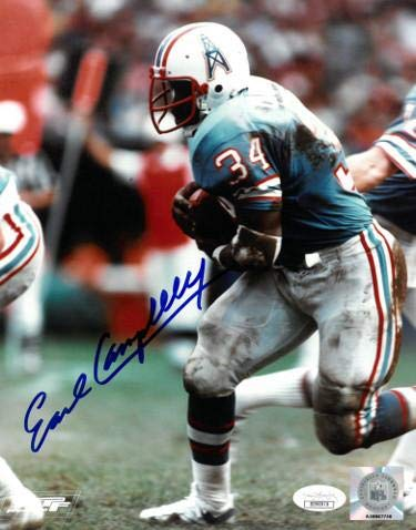 Campbell Autographed Photo - Autographed Earl Campbell Picture - 8X10 blue jersey)- Hologram #DD90979 - JSA Certified - Autographed NFL Photos