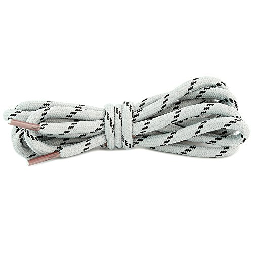 Duty Footwear Heavy (DailyShoes Round Hiking Boot Shoelaces Strong Durable Stylish Shoe Laces (Great for Heavy Duty Shoes) Grey Black 54