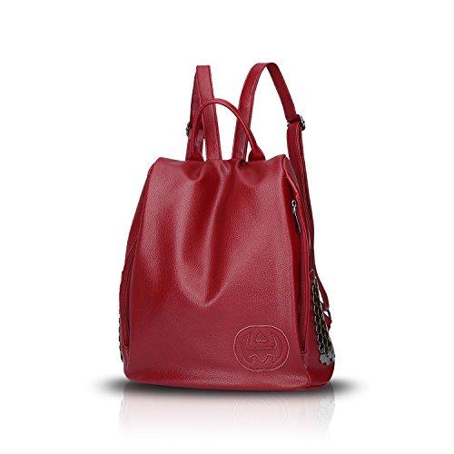Sunas El bolso de hombro retro de las mujeres de la manera remaches bolso del estudiante Bolso del recorrido de la PU rojo