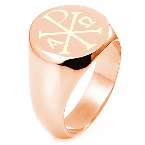- Rose Gold Sterling Silver Chi Rho Alpha Omega Symbol Round Flat Top Polished Ring, Size 11