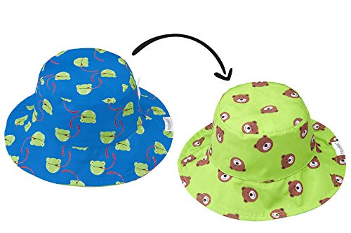 (FlapJackKids - Patterned Kids' Sun Hat - Frog/Bear X-Small (0-6mos))