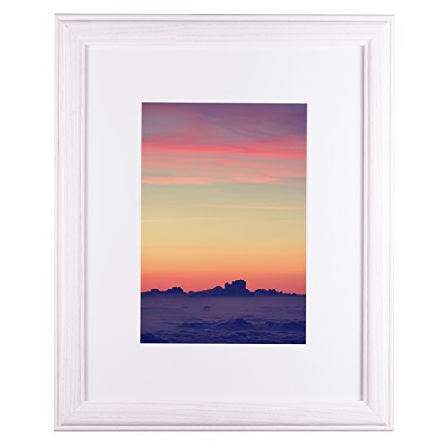 Craig Frames Wiltshire 236 Simple Hardwood Picture Frame with Single White Mat Displays a 13 x 19 Inch Print with The Mat or 17 x 22 Inch Without The Mat ()