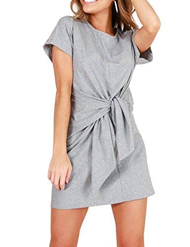 Haola Womens T Shirt Dress Casual Loose Short Sleeve Tie-up Waist Dresses