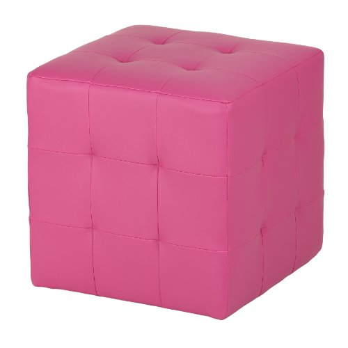 (Cortesi Home Leather Like Vinyl Braque Tufted Cube Ottoman, Pink)