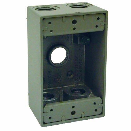 Raco Weatherproof Boxes - Hubbell 5322-0 Bell Raco Weatherproof Box, 1 Gang, 18.3 Cu-in X 4-1/2 in L X 2-3/4 in W X 2 in D, 5-1/2-Inch