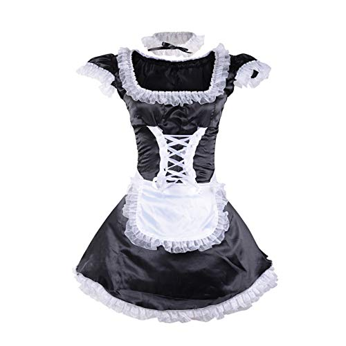 Wraith of East French Maid Costume Sexy Women's Halloween Cleaning Service Maiden Dress Apron Necklace (S)