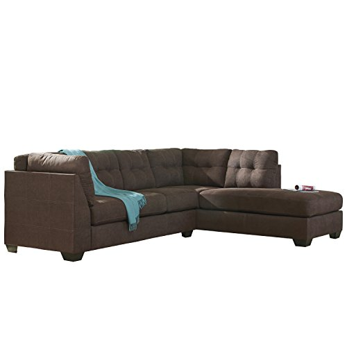 Flash Furniture Benchcraft Maier Sectional with Right Side Facing Chaise in Walnut Microfiber