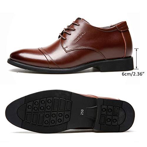 Jiyaru Mens Casual Oxford Lace Up Business Dress Wedding Shoes Brown Asian 41 / US 8 by Jiyaru (Image #5)