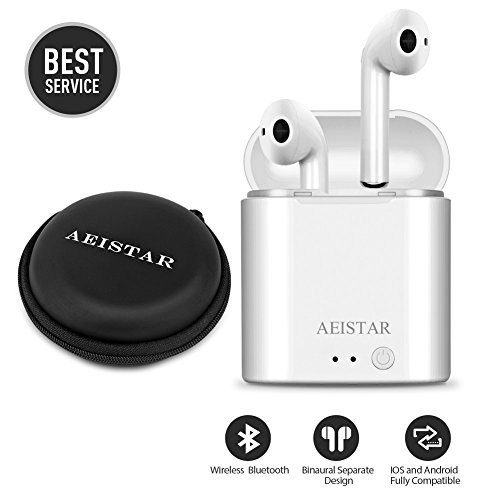 Wireless Earbuds, Bluetooth Headphones Mini Size, Stereo in-Ear Wireless Headphones with Mic and Charging Case, Bluetooth Earbuds with Noise Canceling Compatible with iPhone iOS Android Smart Phones by AtecKe