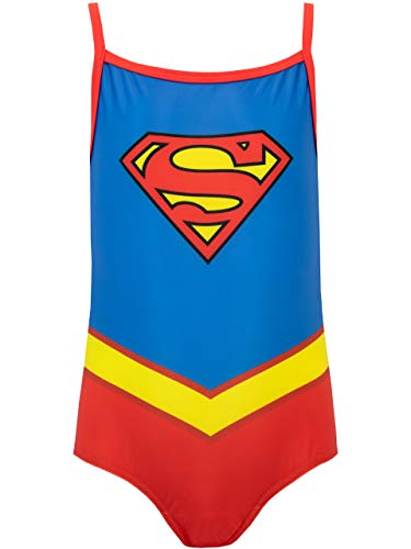 DC Comics Girls' Supergirl Swimsuit Size 6 Blue -