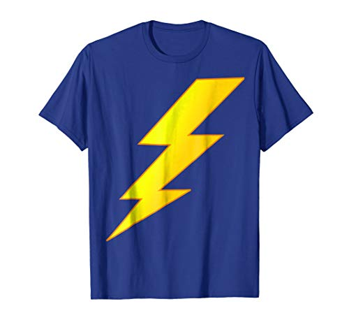 Mens Lightning Bolt last minute Halloween costume shirt 2XL Royal Blue ()