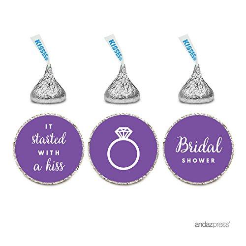 Andaz Press Chocolate Drop Labels Trio, Fits Hersheys Kisses, Wedding Bridal Shower, Purple, 216-Pack