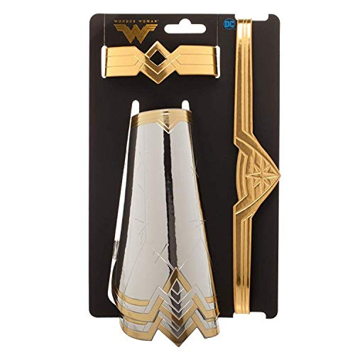 Wonder Woman Costume Accessories Cuffs Gauntlets Tiara Set Comic Book Superhero Silver -
