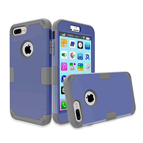 iPhone 7 Plus Case, iPhone 8 Plus Case, KAMII 3in1 Hybrid Three Layer Defender Protective [Heavy Duty] Shockproof Full-Body Drop Resistance Case Cover for iPhone 7 Plus / 8 Plus (Navy Blue+Dark Grey)