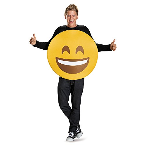 Disguise Unisex Smile Emoticon Emoji Adult Costume, Yellow, One Size