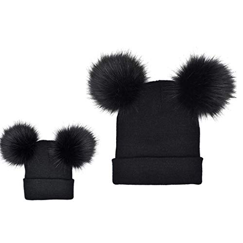 Tinffy 2Pcs Adult Kids Winter Warm Pom Pom Knitted Hat Beanie Cap Skullies & Beanies