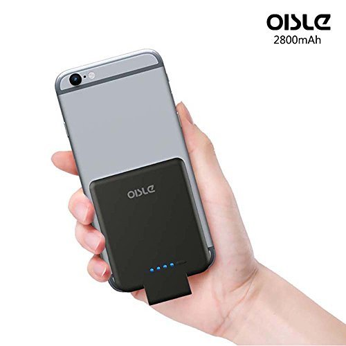 OISLE iPhone External Battery 2800mAh[2nd Generation],Ultra Thin Battery Case (0.29inch Thickness,59g Weight), High-Speed Charging Technology Power Bank for iPhone 5(s)/6(s)/7 (Black)