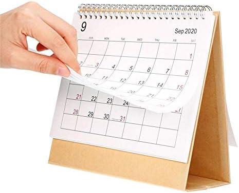 HUVE Desktop-Flip-Kalender Tischkalender 2019-2020 Monatlicher Schreibtisch, Stand Up Office Tischplaner Datum Notizblock Für Studenten, Büroangestellte, Hausfrauen